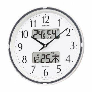【RHYTHM】掛け時計スタンダードフィットウェーブリブ(白(白))・4FYA07SR03