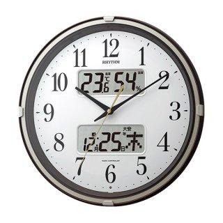 【RHYTHM】掛け時計スタンダードフィットウェーブリブ(茶メタリック色(白))・4FYA07SR06