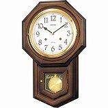 【RHYTHM】掛け時計正時メロディ・報時付フィオリータR(茶色半艶仕上(白))・4MJ770RH06