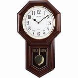【RHYTHM】掛け時計報時時計ベングラーR(茶色半艶仕上(白))・4MJA03RH06