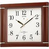 【RHYTHM】掛け時計報時時計ネムリーナM494R(茶色メタリック色(白))・4MN494RH06