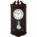 【RHYTHM】掛け時計報時時計ペデルセンR(茶色半艶仕上(白))・4MNA03RH06