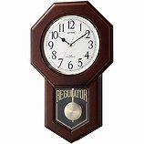 【RHYTHM】掛け時計報時時計モーランドR(茶色半艶仕上(白))・4MNA06RH06