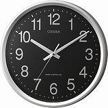 【CITIZEN】掛け時計スタンダードサークルポート(シルバーメタリック色(黒))・4MYA24-002