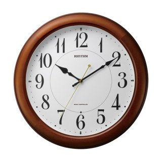 【RHYTHM】掛け時計夜間自動点灯機能付ピュアライトM25(茶色光沢仕上(白))・4MYA25SR06