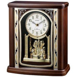 【RHYTHM】置き時計ポール式時計パルロワイエR698(茶色半艶仕上(白))・4RY698SR06