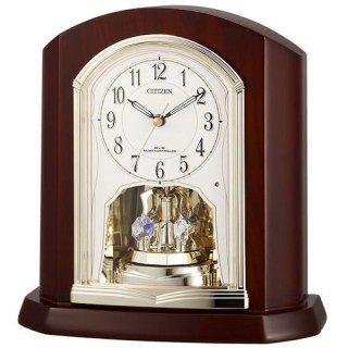 【RHYTHM】置き時計ポール式時計パルロワイエR702SR(茶色半艶仕上(アイボリー))・4RY702SR06
