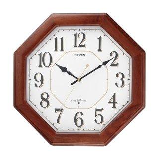 【CITIZEN】掛け時計スタンダードネムリーナハピネス(茶色半艶仕上(白))・8MY472-006