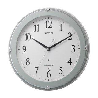 【RHYTHM】掛け時計夜間自動点灯機能付ピュアライトマーロン(青半艶仕上(白))・8MYA23SR04