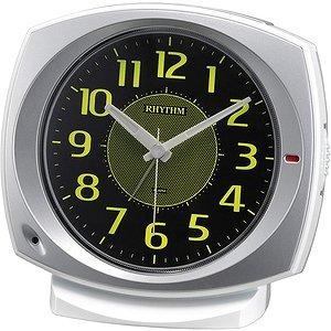 【RHYTHM】目覚まし時計スタンダードコールマン657(シルバーメタリック色(黒))・8RE657SR19