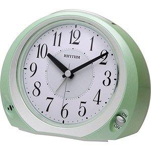 【RHYTHM】置き時計目覚まし時計フェイス28(緑メタリック色(白))・8REA28SR05