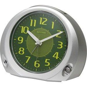 【RHYTHM】置き時計目覚まし時計フェイス28(シルバーメタリック色(緑))・8REA28SR19