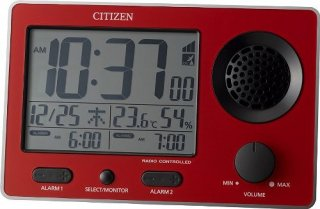【RHYTHM】置き時計デジタル時計スーパークリアトーンFSR(赤)・8RZ149SR01