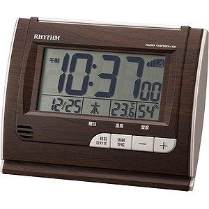【RHYTHM】デジタル時計その他特長商品フィットウェーブD165(濃茶)・8RZ165SR06