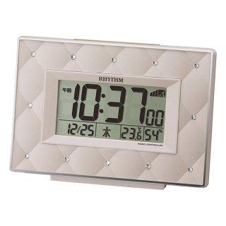 【RHYTHM】置き時計デジタル時計フィットウェーブアビスコ(ベージュパール色)・8RZ167SR38