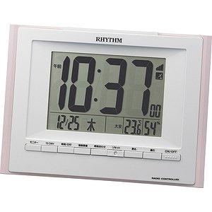 【RHYTHM】置き時計デジタル時計フィットウェーブD168(ピンク)・8RZ168SR13