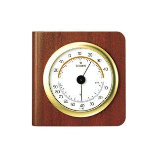 【CITIZEN】温湿度計アナログTM148(茶色木地仕上)・9CZ094-006