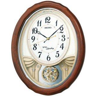 【SEIKO】掛け時計 アミューズ時計(茶木地塗装)・AM257B