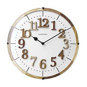 【インターフォルム】電波掛け時計 TIEL [ティール](ナチュラル)・CL-9706