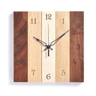 【ササキ工芸】掛け時計 スクエア(ウォルナット、ナラ、メープル)・CL-SQ-WNM