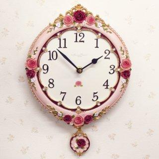 【GOLDCREST】掛け時計アンティークローズ(ピンク)・GO-1663PI