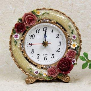 【GOLDCREST】置き時計ロイヤルローズ(アイボリー)・GO-1683IV