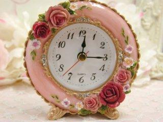 【GOLDCREST】置き時計ロイヤルローズ(ピンク)・GO-1683PI