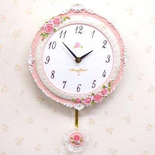 【GOLDCREST】掛け時計パウダーローズ(ホワイト)・GO-1690
