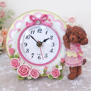 【GOLDCREST】置き時計トイプードル(ホワイト)・GO-1691