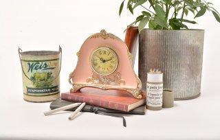 【ハルモニア】置き時計 アンティーク時計(ピンク)・HM-5087
