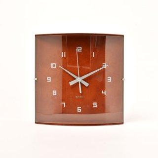 【IDEA LABEL】イデアレーベル 掛け時計 ウッドガラスクロックグランデ(ダークブラウン)・LCW027-DW