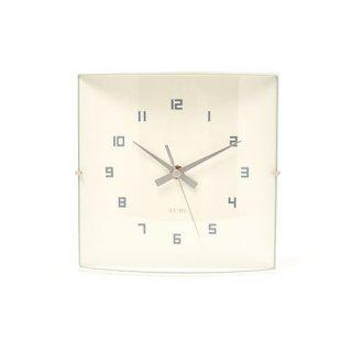 【IDEA LABEL】イデアレーベル 掛け時計 ウッドガラスクロックグランデ(ホワイト)・LCW027-WH