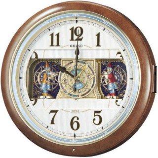 【SEIKO】掛け時計 からくり時計(茶マーブル模様塗装 光沢仕上げ)・RE559H