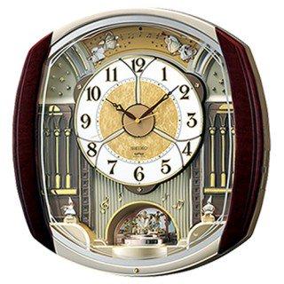 【SEIKO】掛け時計 からくり時計(濃茶マーブル模様塗装光沢仕上げ)・RE564H
