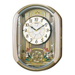 【SEIKO】掛け時計 からくり時計(薄ピンクマーブル模様塗装 光沢仕上げ)・RE567G