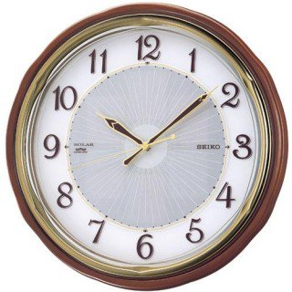 【SEIKO】掛け時計 ソーラープラス(茶木地塗装)・SF221B