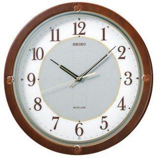 【SEIKO】掛け時計 ソーラープラス(茶木地塗装)・SF232B