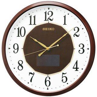 【SEIKO】掛け時計 ハイブリッドソーラー(茶メタリック塗装)・SF241B