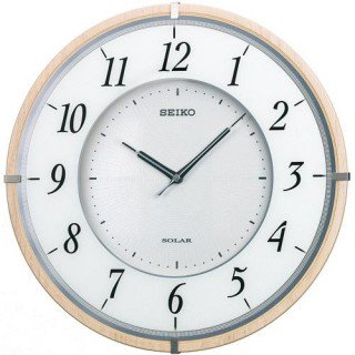 【SEIKO】掛け時計 ソーラープラス(薄茶木地塗装)・SF501B
