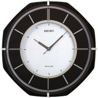 【SEIKO】掛け時計 ソーラープラス(柄つき板貼り 濃茶木地塗装)・SF502B