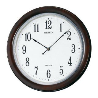 【SEIKO】掛け時計 ソーラープラス(濃茶木地塗装光沢仕上げ)・SF504B
