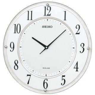 【SEIKO】掛け時計 ソーラープラス(白マーブル模様塗装光沢仕上げ)・SF506W