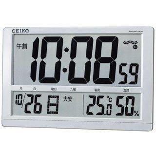 【SEIKO】デジタル時計 温度・湿度表示つき(銀色メタリック塗装)・SQ433S