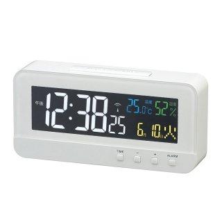 【MAG】置き時計 電波時計 カラーハープ(ホワイト)