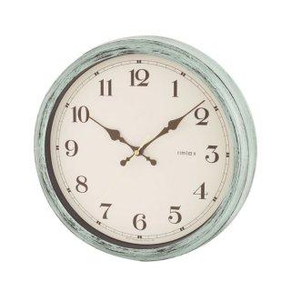 【rimlex】電波掛け時計 インテリアクロック エアリアルレトロ(グリーン)