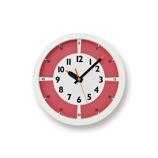 【Lemnos】KID'S+MODERN 掛け時計 fun pun clock with color!(レッド)・YD15-01RE