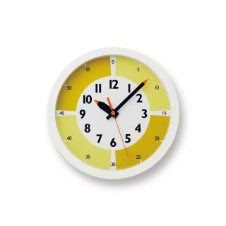 【Lemnos】KID'S+MODERN 掛け時計 fun pun clock with color!(イエロー)・YD15-01YE