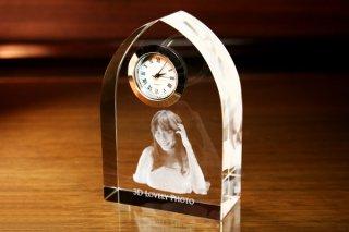【GLASS CLOCK】アーチクロック(透明色) 置き時計 ガラス時計(ガラス製)・I027