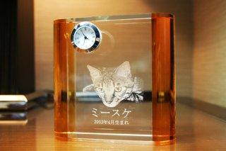 【GLASS CLOCK】サイドカラークロック(透明色(側面:ゴールド)) 置き時計 ガラス時計(ガラス製)・I044GD