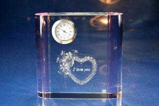 【GLASS CLOCK】サイドカラークロック(透明色(側面:ピンク)) 置き時計 ガラス時計(ガラス製)・I044PK